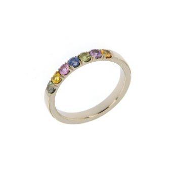 Ring Flower aus Weißgold 750 mit verschiedenfarbigen Saphiren