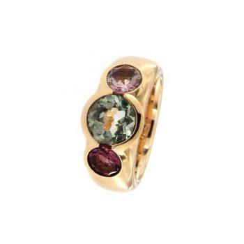 Ring Gentle Reflection aus Rotgold 750 mit einem Prasiolith und 2 Turmalinen